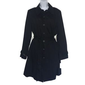 NWT Apostrophe Black Belted 3/4 Trench Coat 16W